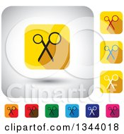 Clipart Of Rounded Corner Square Scissors App Icon Design Elements Royalty Free Vector Illustration