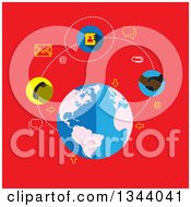 Poster, Art Print Of Flat Design Earth Globe And Contact Icons On Red