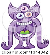 Clipart Of A Cartoon Crazy Purple Three Eyed Alien Or Monster Laughing Royalty Free Vector Illustration by Zooco