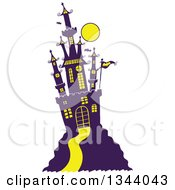 Clipart Of A Cartoon Hill Top Halloween Castle With Bats And A Full Moon Royalty Free Vector Illustration by Zooco