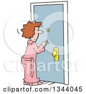 Cartoon Caucasian Woman In A Robe Looking Through A Peep Hole In A Door