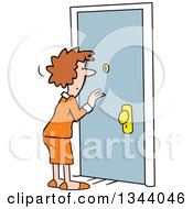 Clipart Of A Cartoon Caucasian Woman Dressed For Work Looking Through A Peep Hole In A Door Royalty Free Vector Illustration by Johnny Sajem