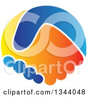 Clipart Of A Blue And Orange Hand Shake Royalty Free Vector Illustration