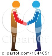 Poster, Art Print Of Blue And Orange Men Engaged In A Hand Shake