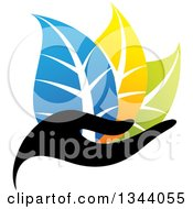 Clipart Of A Black Hand Holding Blue Yellow And Green Leaves Royalty Free Vector Illustration by ColorMagic