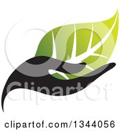 Clipart Of A Black Hand Holding A Gradient Green Leaf Royalty Free Vector Illustration by ColorMagic