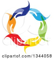 Clipart Of A Circle Of Colorful Human Hands 4 Royalty Free Vector Illustration by ColorMagic