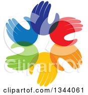 Clipart Of A Circle Of Colorful Human Hands 5 Royalty Free Vector Illustration