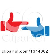 Clipart Of Red And Blue Hands Pointing At Each Other Royalty Free Vector Illustration