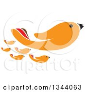 Clipart Of An Orange Bird Hand And Chicks Royalty Free Vector Illustration by ColorMagic