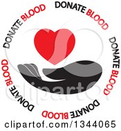 Clipart Of A Black Hand And Red Heart In A Circle Of Donate Blood Text Royalty Free Vector Illustration