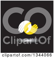 Clipart Of A Pair Of White And Yellow Hands Entwined At The Thumbs Over Black Royalty Free Vector Illustration