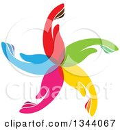 Clipart Of A Circle Flower Or Windmill Of Colorful Human Hands Royalty Free Vector Illustration