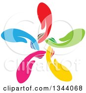 Clipart Of A Circle Flower Or Windmill Of Colorful Human Hands 2 Royalty Free Vector Illustration