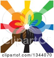 Clipart Of A Group Of Colorful Human Hands Reaching All In Royalty Free Vector Illustration