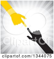Clipart Of Pointing Yellow And Black Arms And Hands Reaching For Each Other Over Gray Rays Royalty Free Vector Illustration