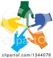 Clipart Of A Circle Of Colorful Human Hands Pointing Inwards Royalty Free Vector Illustration