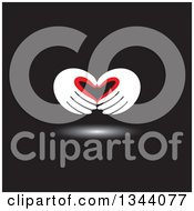 Clipart Of A Pair Of Red And White Hands Forming A Heart Over Black Royalty Free Vector Illustration