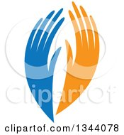 Blue And Orange Human Hands