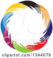 Clipart Of A Circle Of Colorful Human Hands 3 Royalty Free Vector Illustration