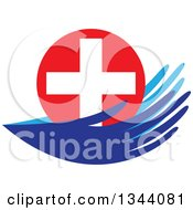 Clipart Of A Pair Of Blue Hands Holding A Medical Cross Royalty Free Vector Illustration
