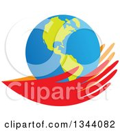 Clipart Of A Pair Of Red And Orange Hands Holding An Earth Globe Royalty Free Vector Illustration