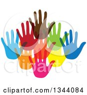 Clipart Of A Group Of Colorful Human Hands Royalty Free Vector Illustration