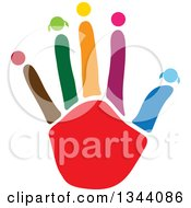 Clipart Of A Colorful Ahnd With Heads On The Tips Of Fingers Royalty Free Vector Illustration