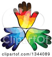 Clipart Of A Trio Of Colorful Human Hands Royalty Free Vector Illustration