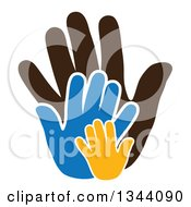 Clipart Of Child Hands Over A Parents Hand 2 Royalty Free Vector Illustration