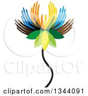Clipart Of A Colorful Water Lily Lotus Flower Made Of Hands 2 Royalty Free Vector Illustration