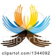 Clipart Of A Colorful Water Lily Lotus Flower Made Of Hands Royalty Free Vector Illustration