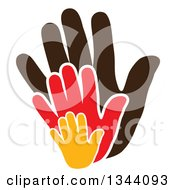 Clipart Of Child Hands Over A Parents Hand 3 Royalty Free Vector Illustration