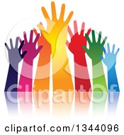 Group Of Colorful Human Hands Reaching And Reflection