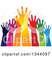 Clipart Of A Group Of Colorful Human Hands Reaching Royalty Free Vector Illustration