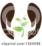 Clipart Of A Pair Of Gentle Brown Hands Protecting A Seedling Plant Royalty Free Vector Illustration by ColorMagic #COLLC1344098-0187