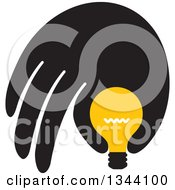 Clipart Of A Black Hand Pinching Or Holding A Yellow Light Bulb Royalty Free Vector Illustration