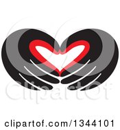 Clipart Of A Pair Of Red And Black Hands Forming A Heart Royalty Free Vector Illustration