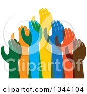 Clipart Of A Group Of Colorful Human Hands Reaching 2 Royalty Free Vector Illustration
