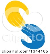 Clipart Of Yellow And Blue Hands Reaching For Each Other Royalty Free Vector Illustration