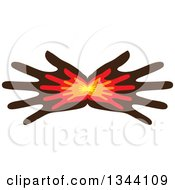 Pair Of Fanned Hands With Smaller Hands