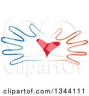 Clipart Of Open Blue And Red Hands With A Heart Royalty Free Vector Illustration
