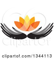 Clipart Of Black Hands Holding An Orange Water Lily Lotus Flower Royalty Free Vector Illustration
