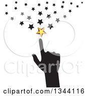 Clipart Of A Black Silhouetted Hand Pointing To Stars Royalty Free Vector Illustration