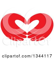 Clipart Of A Pair Of Red Hands Forming A Heart Royalty Free Vector Illustration