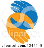 Clipart Of Blue And Orange Human Hands Entwined At The Thumbs Royalty Free Vector Illustration