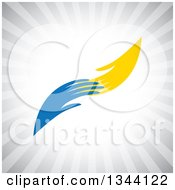 Clipart Of Yellow And Blue Hands Reaching For Each Other Over Gray Rays Royalty Free Vector Illustration