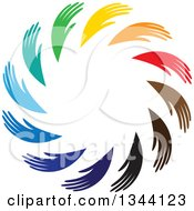 Clipart Of A Circle Of Colorful Human Hands Royalty Free Vector Illustration