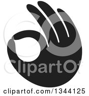 Clipart Of A Black Hand Gesturing Ok Royalty Free Vector Illustration