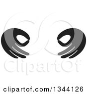 Clipart Of A Pair Of Black Hands Gesturing Ok Royalty Free Vector Illustration